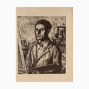 Diego Pettinelli, Self-Portrait, Lithograph on Paper, 1939