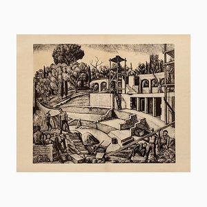 Diego Pettinelli, Construction, Lithografie auf Papier, 1930er