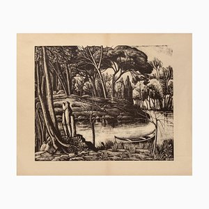 Diego Pettinelli, Landscape, Lithograph on Paper, 1937