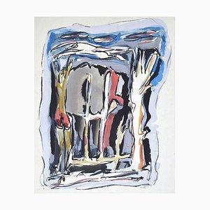 Mario Martini, Composition, Technique mixte sur carton, 1973