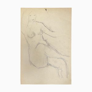 Herta Hausmann, Female Nude, Drawing in Pencil, Mid-20th Century