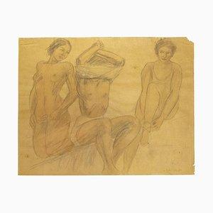 O. Roche, Figures, crayon et pastel à l'huile sur papier, 1938