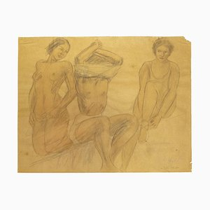 O. Roche, Figures, Pencil and Oil Pastel on Paper, 1938
