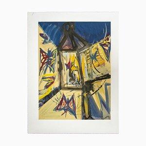 Sconosciuta, composizione, acquarello su carta, anni '50