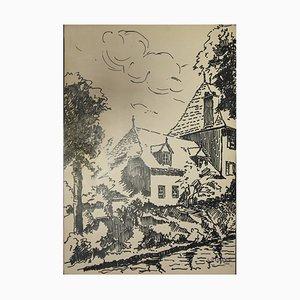 L. Gerard, La maison, encre sur papier, 1958