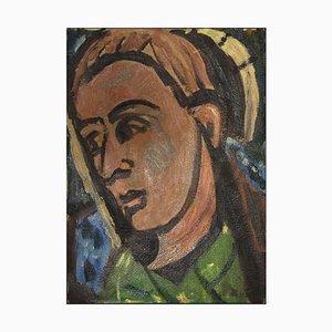 Caroline Hill, Figur, Ölgemälde auf Karton, Mitte des 20. Jahrhunderts