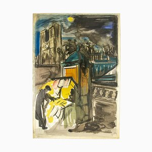 Sconosciuto, The Booksellers of Notre Dame, Paris, Watercolor on Paper, 1950s