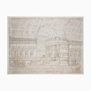 Domenico Amici, interno del tempio di Venere, acquaforte, XIX secolo