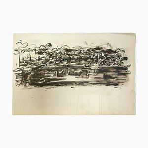 Herta Hausmann, Landschaft, China Tusche & Aquarell, 1950er