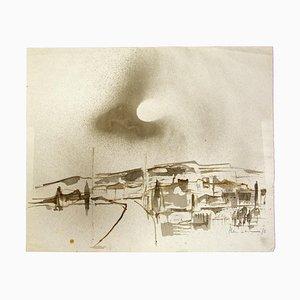 Herta Hausmann, Landschaft, Aquarell auf Papier, Mitte 20. Jahrhundert