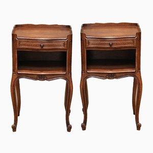 French Oak Bedside Cabinets, Set of 2