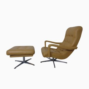 Leather Swivel Easy Chair and Ottoman, 1970s, Set of 2