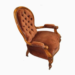 Mahogany Daddy Armchair in Rust Upholstery, 1910s