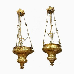 Napoleon III Bronze and Gilt Brass Church Chandeliers, Set of 2