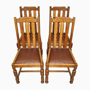 Chaises de Salon en Chêne et Cuir Marron avec Chaises Pop Out, 1930s, Set de 4