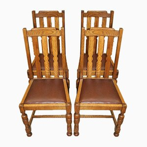 Oak Dining Chairs in Brown Leather with Pop Out Seats Chairs, 1930s, Set of 4