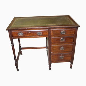 Oak Desk with Green Leather Inset, 1930s