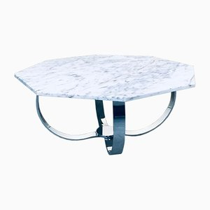 Octagonal Carrara Marble Top Coffee Table with Chrome Base, Italy 1960s