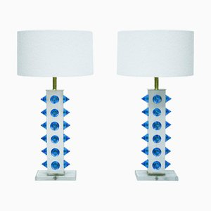 Colored Murano Glass Table Lamps, Set of 2