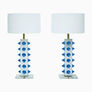 Farbige Murano Glas Tischlampen, 2er Set