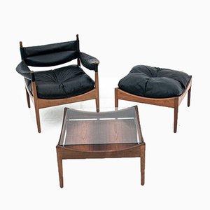Palisander Sessel, Fußhocker & Tisch Set von Kristian Vedel für Søren Willadsen Møbelfabrik, 1963, 3er Set
