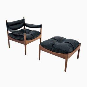 Rosewood Armchair, Footstool & Table Set by Kristian Vedel for Søren Willadsen Møbelfabrik, 1963, Set of 3