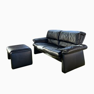 Dark Leather Sofas from Erpo, 1980s, Set of 2