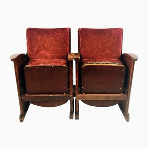 Antique Velour Theatre / Cinema Chairs, 1910s, Set of 2