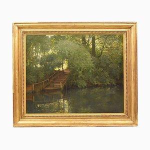 Landschaft mit Fluss, 19. Jahrhundert, Öl auf Leinwand