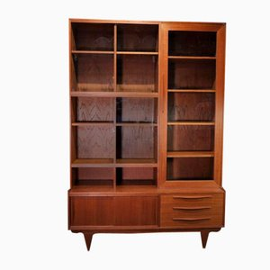 Scandinavian Teak Wall Unit with Sliding Glass Doors, 1960s