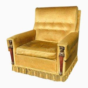 Gold Velvet Armchairs, 1950s, France, Set of 2
