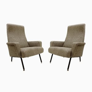 Italian Armchairs with Black Metal Structure, 1960s, Set of 2