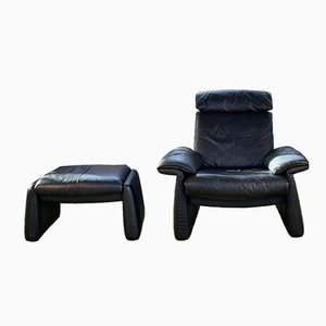 Dark Leather Armchair and Ottoman from Erpo, 1980s, Set of 2