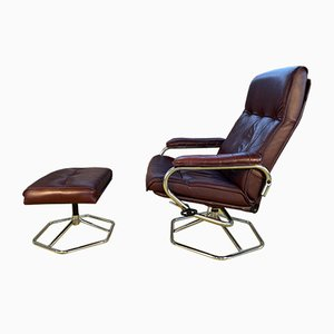 Danish Leather Reclining Chair and Stool from Unico, 1960s, Set of 2