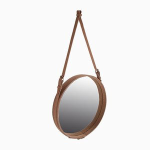 Round Safari Sand Color Mirror by Jacques Adnet
