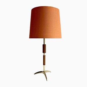 Bronze, Brass & Teak Tripod Table or Desk Lamp from Fog & Mørup, 1960s