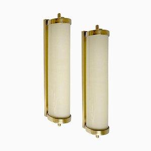 Große Französische Art Deco Wandlampen aus Opalglas & Messing, 1930er, 2er Set