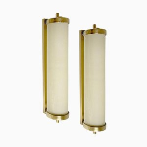Large French Art Deco Sconces in Opaline Glass & Brass, 1930s, Set of 2