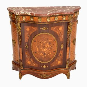 French Inlaid Marquetry Marble Top Cabinet, 1930s