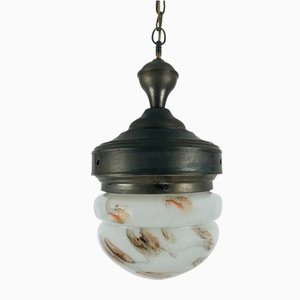 Antique Marble Glass Ceiling Lamp, 1920s