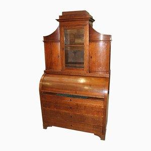 Eichenholz Zylinder Schreibtisch mit Intarsie und Displayplatte, 1900er