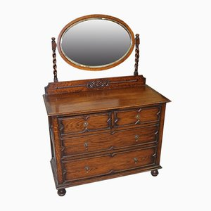 Oak Dressing Table with Oval Central Mirror Stand, 1920s