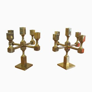 Brass Candleholders by Lars Bergsten for Gusum, 1950s, Set of 2