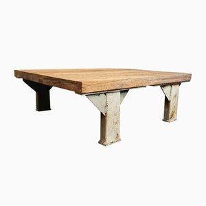 Tavolino da caffè industriale in quercia con gambe in acciaio, anni '70