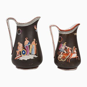 Antique Cermanic English Decorative Pouring Jugs, Set of 2