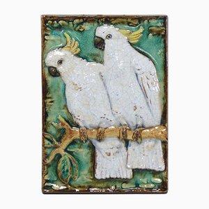 Vintage Wandteller aus Keramik von Karlsruher Majolika