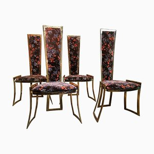 Brass High Back Chairs in the Style of Willy Rizzo for Maison Charles, France, 1960s, Set of 4
