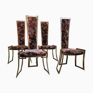 Sedie con schienale alto in ottone nello stile di Willy Rizzo per Maison Charles, Francia, anni '60, set di 4