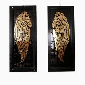 Large Angel Wings Framed Artwork, Set of 2