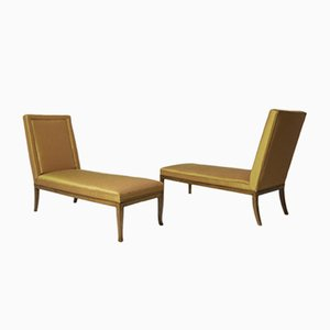 Chaise longue Mid-Century in seta arancione di TH Robsjohn-Gibbings, set di 2